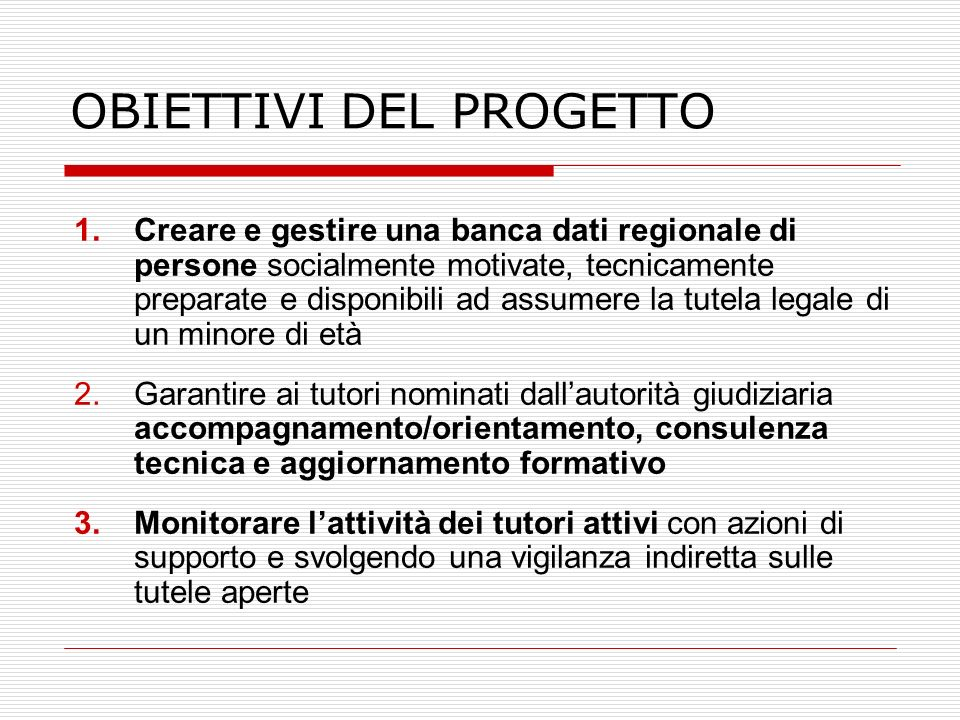 OBIETTIVI DEL PROGETTO 1.Creare e gestire una banca dati regionale di persone socialmente motivate, tecnicamente preparate e disponibili ad assumere l