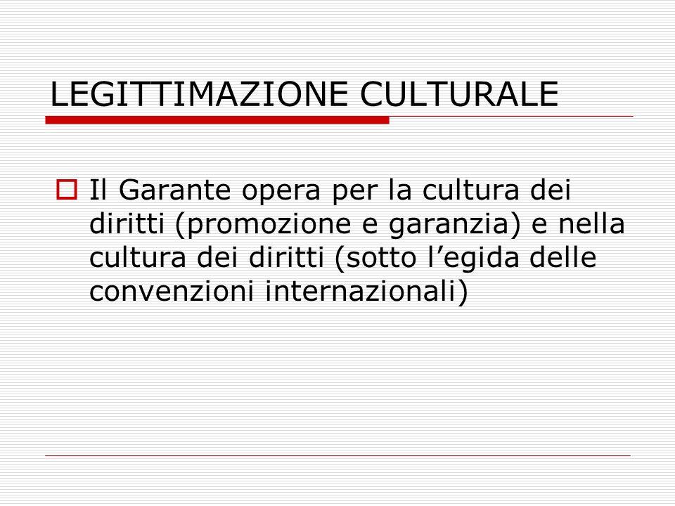 LEGITTIMAZIONE CULTURALE Il Garante opera per la cultura dei diritti (promozione e garanzia) e nella cultura dei diritti (sotto legida delle convenzio