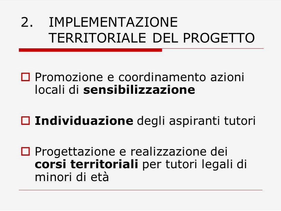 2.IMPLEMENTAZIONE TERRITORIALE DEL PROGETTO Promozione e coordinamento azioni locali di sensibilizzazione Individuazione degli aspiranti tutori Proget