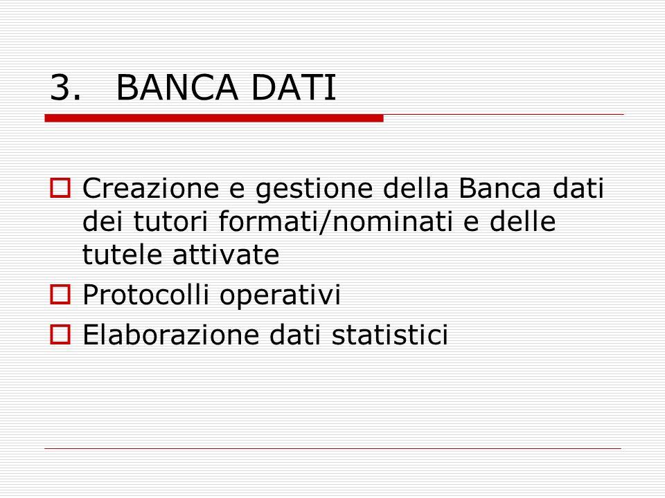 3.BANCA DATI Creazione e gestione della Banca dati dei tutori formati/nominati e delle tutele attivate Protocolli operativi Elaborazione dati statisti