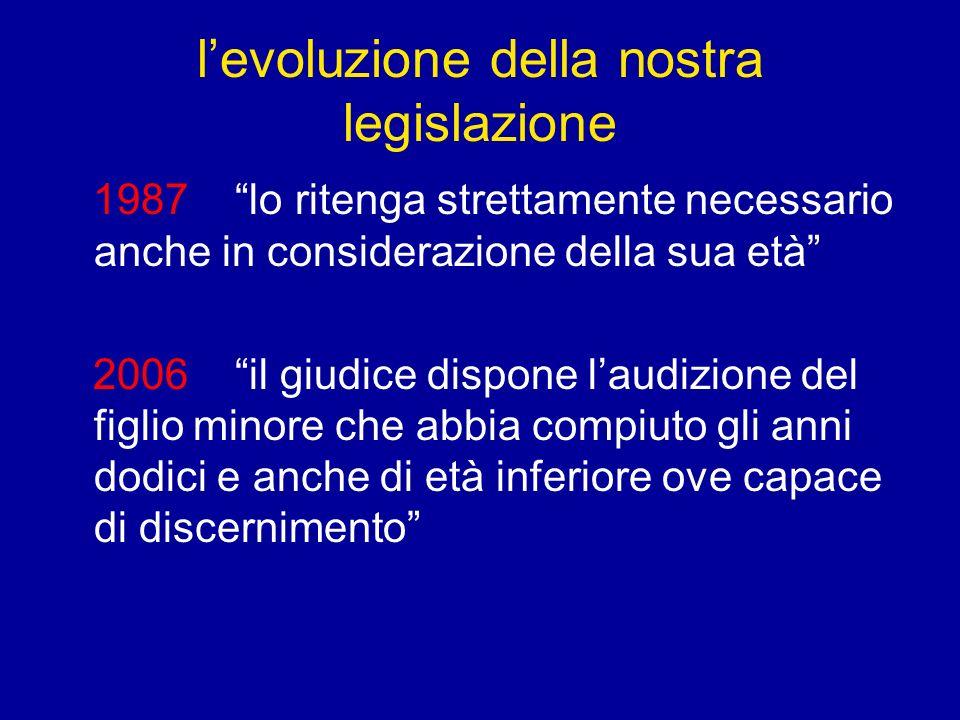 levoluzione della nostra legislazione 1987 lo ritenga strettamente necessario anche in considerazione della sua età 2006 il giudice dispone laudizione