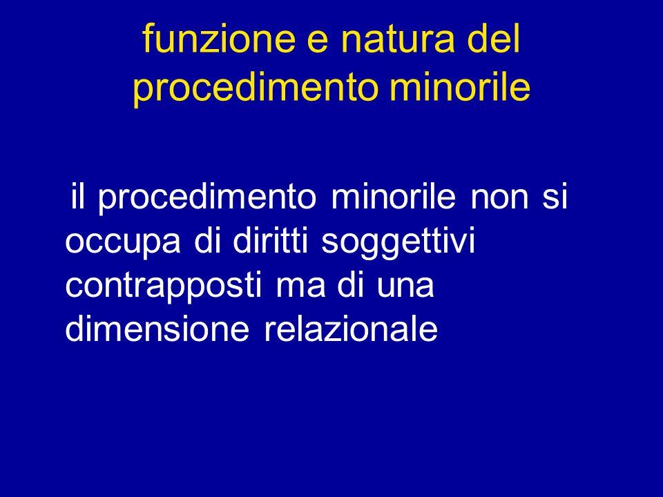 funzione e natura del procedimento minorile il procedimento minorile non si occupa di diritti soggettivi contrapposti ma di una dimensione relazionale