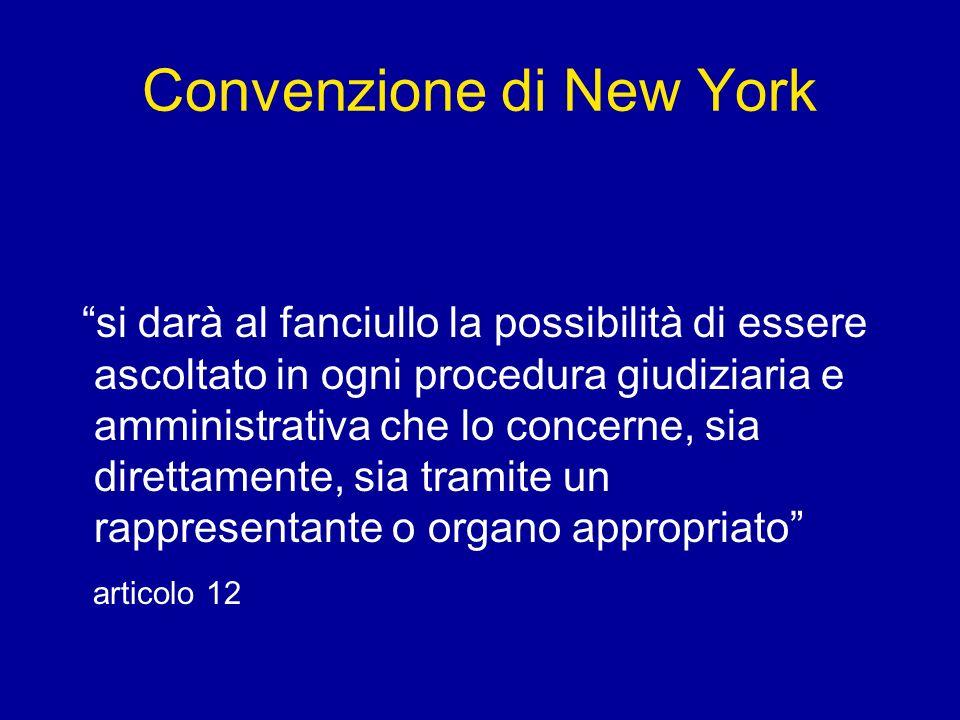 Convenzione di New York si darà al fanciullo la possibilità di essere ascoltato in ogni procedura giudiziaria e amministrativa che lo concerne, sia di
