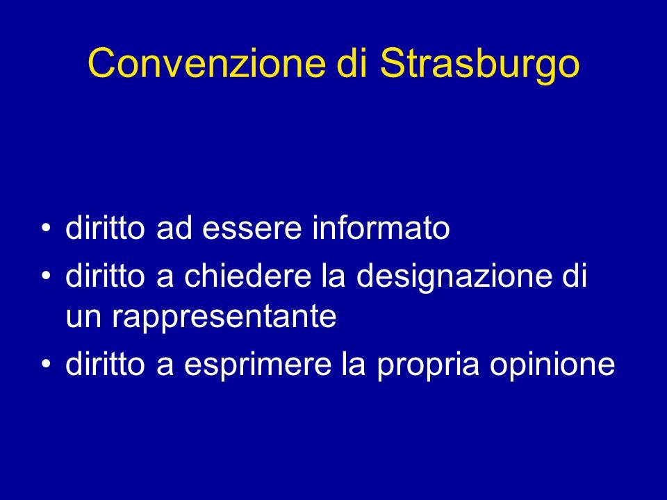 Convenzione di Strasburgo diritto ad essere informato diritto a chiedere la designazione di un rappresentante diritto a esprimere la propria opinione