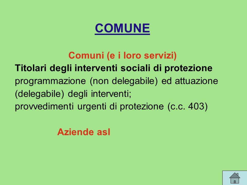 COMUNE Comuni (e i loro servizi) Titolari degli interventi sociali di protezione programmazione (non delegabile) ed attuazione (delegabile) degli interventi; provvedimenti urgenti di protezione (c.c.