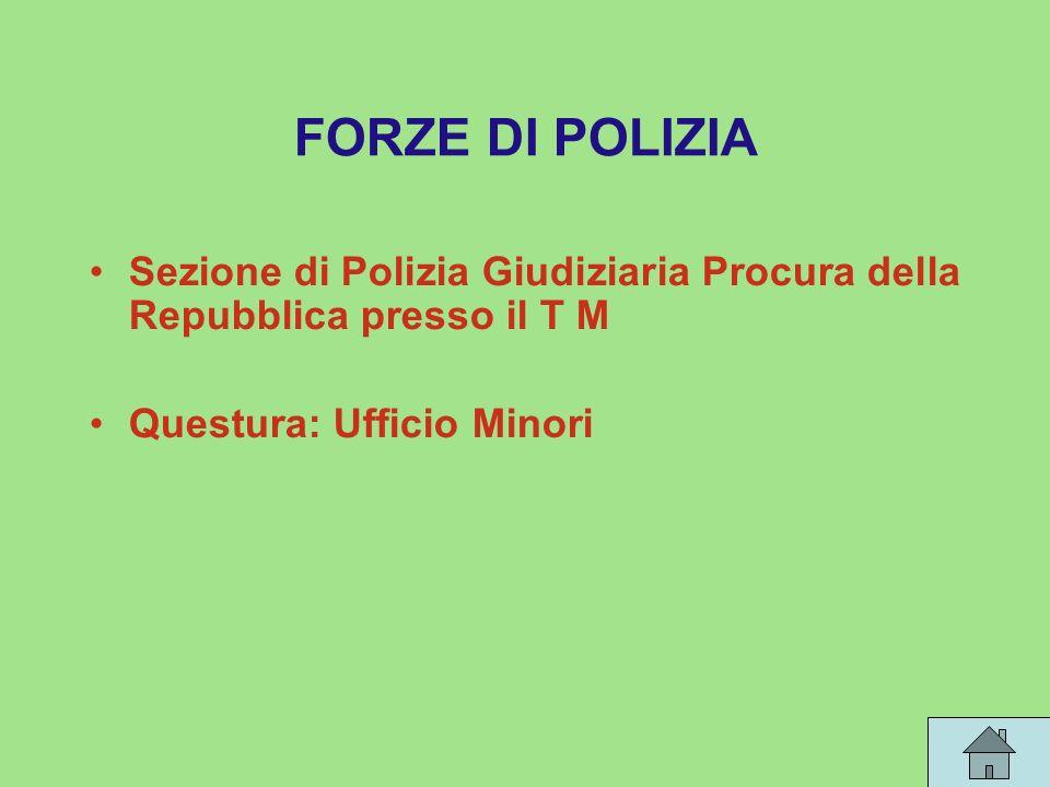 FORZE DI POLIZIA Sezione di Polizia Giudiziaria Procura della Repubblica presso il T M Questura: Ufficio Minori