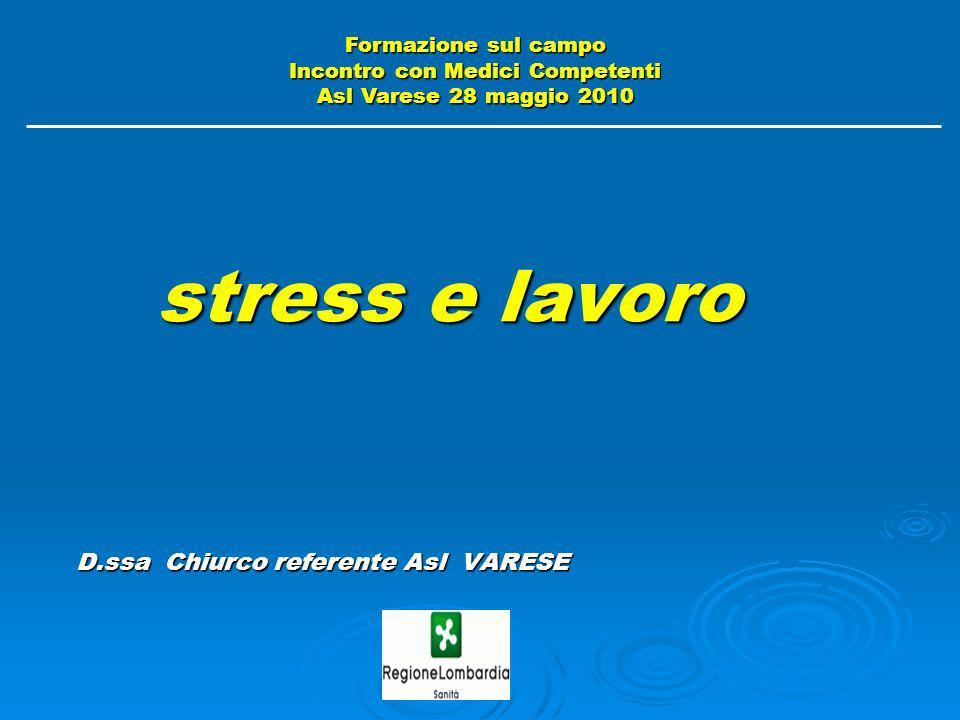 stress e lavoro D.ssa Chiurco referente Asl VARESE stress e lavoro D.ssa Chiurco referente Asl VARESE Formazione sul campo Incontro con Medici Compete