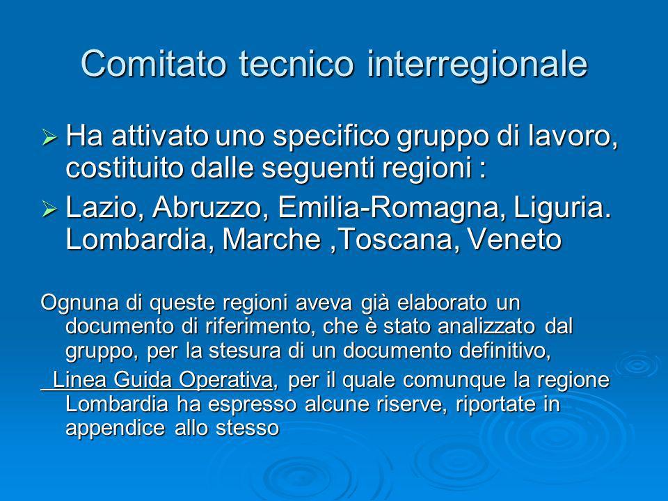 Comitato tecnico interregionale Ha attivato uno specifico gruppo di lavoro, costituito dalle seguenti regioni : Ha attivato uno specifico gruppo di la