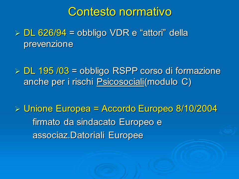 Contesto normativo DL 626/94 = obbligo VDR e attori della prevenzione DL 626/94 = obbligo VDR e attori della prevenzione DL 195 /03 = obbligo RSPP cor