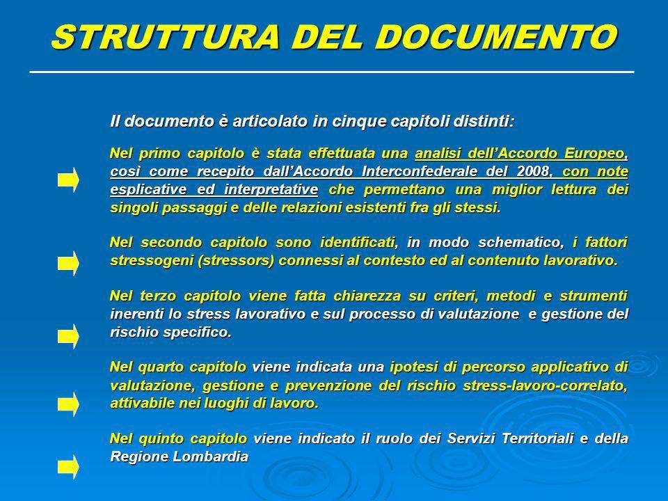 Il documento è articolato in cinque capitoli distinti: Il documento è articolato in cinque capitoli distinti: Nel primo capitolo è stata effettuata un