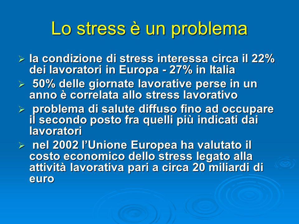 Lo stress è un problema la condizione di stress interessa circa il 22% dei lavoratori in Europa - 27% in Italia la condizione di stress interessa circ