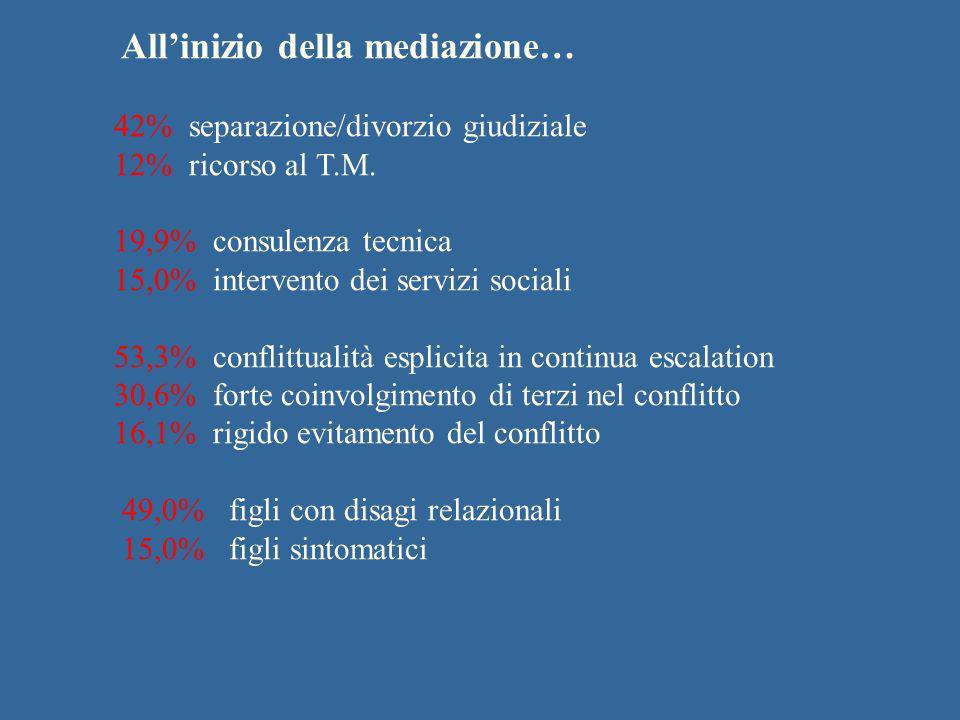 Allinizio della mediazione… 42% separazione/divorzio giudiziale 12% ricorso al T.M. 19,9% consulenza tecnica 15,0% intervento dei servizi sociali 53,3