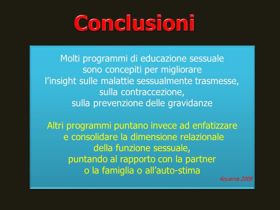 Molti programmi di educazione sessuale sono concepiti per migliorare linsight sulle malattie sessualmente trasmesse, sulla contraccezione, sulla preve