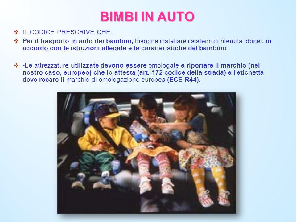 BIMBI IN AUTO IL CODICE PRESCRIVE CHE: Per il trasporto in auto dei bambini, bisogna installare i sistemi di ritenuta idonei, in accordo con le istruz