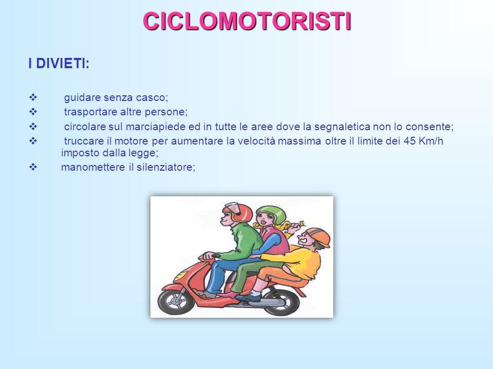 CICLOMOTORISTI I DIVIETI: guidare senza casco; trasportare altre persone; circolare sul marciapiede ed in tutte le aree dove la segnaletica non lo con