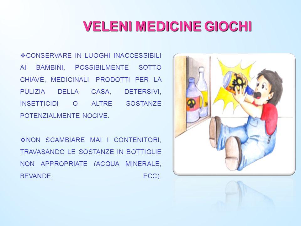 VELENI MEDICINE GIOCHI CONSERVARE IN LUOGHI INACCESSIBILI AI BAMBINI, POSSIBILMENTE SOTTO CHIAVE, MEDICINALI, PRODOTTI PER LA PULIZIA DELLA CASA, DETE