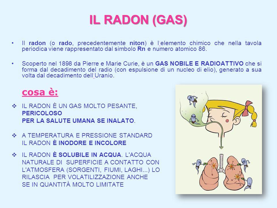 IL RADON (GAS) Il radon (o rado, precedentemente niton) è lelemento chimico che nella tavola periodica viene rappresentato dal simbolo Rn e numero ato