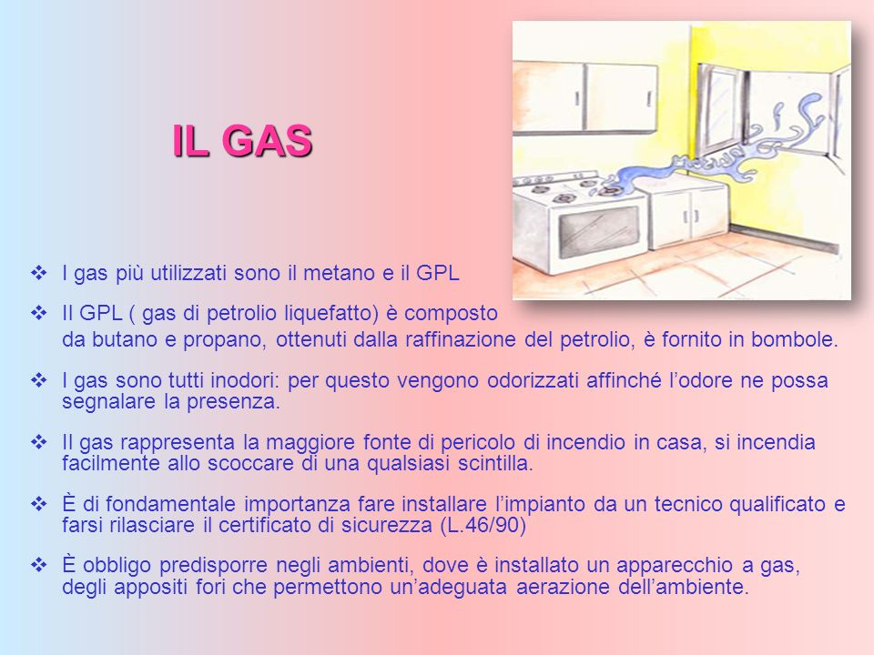 IL GAS I gas più utilizzati sono il metano e il GPL Il GPL ( gas di petrolio liquefatto) è composto da butano e propano, ottenuti dalla raffinazione d
