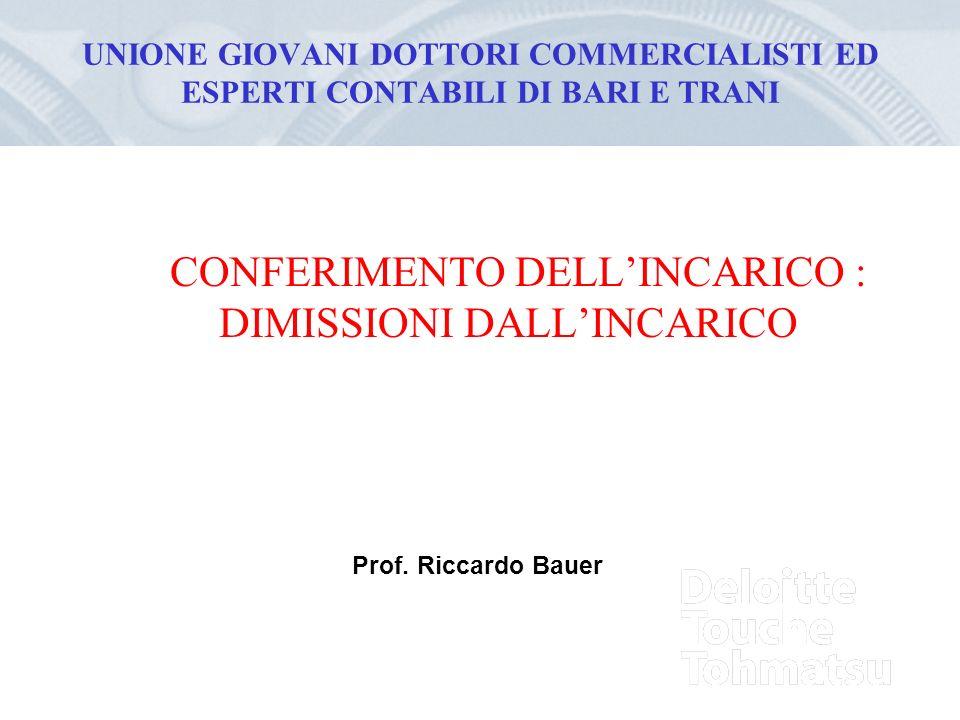 UNIONE GIOVANI DOTTORI COMMERCIALISTI ED ESPERTI CONTABILI DI BARI E TRANI CONFERIMENTO DELLINCARICO : DIMISSIONI DALLINCARICO Prof.