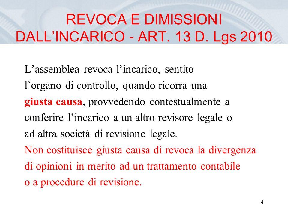4 REVOCA E DIMISSIONI DALLINCARICO - ART. 13 D.