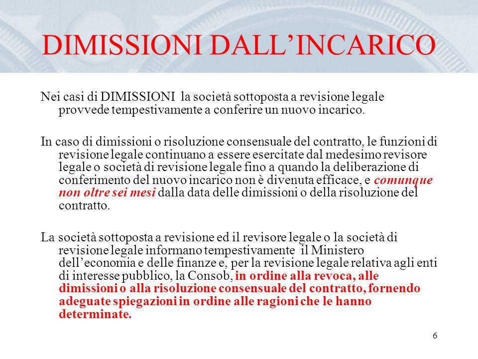 6 DIMISSIONI DALLINCARICO Nei casi di DIMISSIONI la società sottoposta a revisione legale provvede tempestivamente a conferire un nuovo incarico.