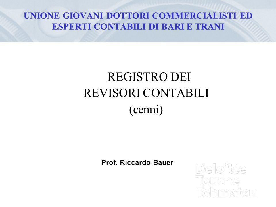 UNIONE GIOVANI DOTTORI COMMERCIALISTI ED ESPERTI CONTABILI DI BARI E TRANI REGISTRO DEI REVISORI CONTABILI (cenni) Prof. Riccardo Bauer