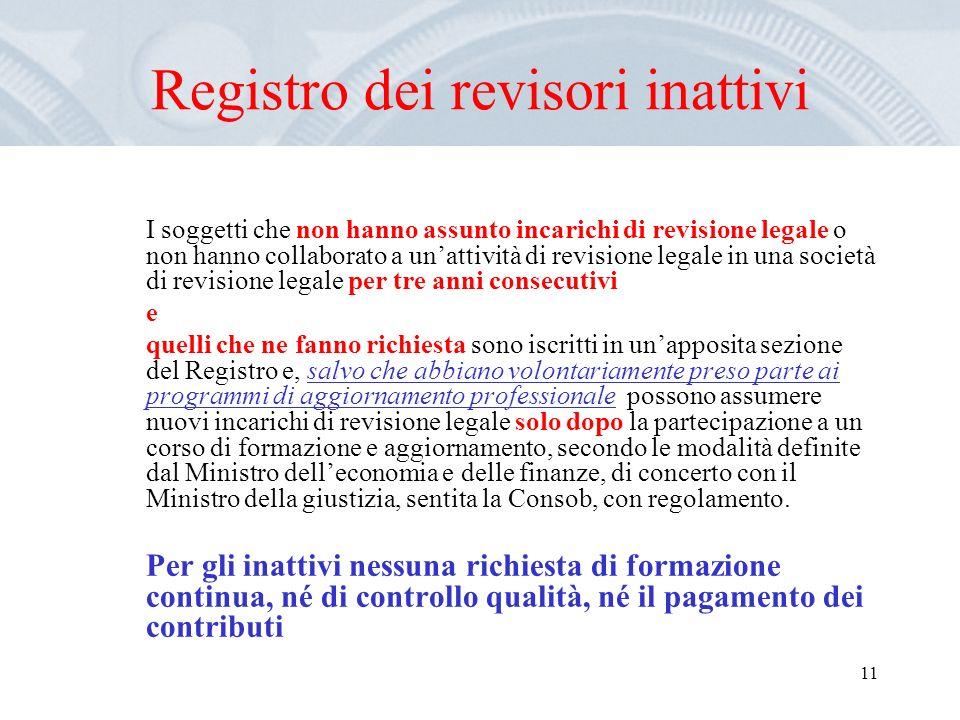 11 Registro dei revisori inattivi I soggetti che non hanno assunto incarichi di revisione legale o non hanno collaborato a unattività di revisione leg