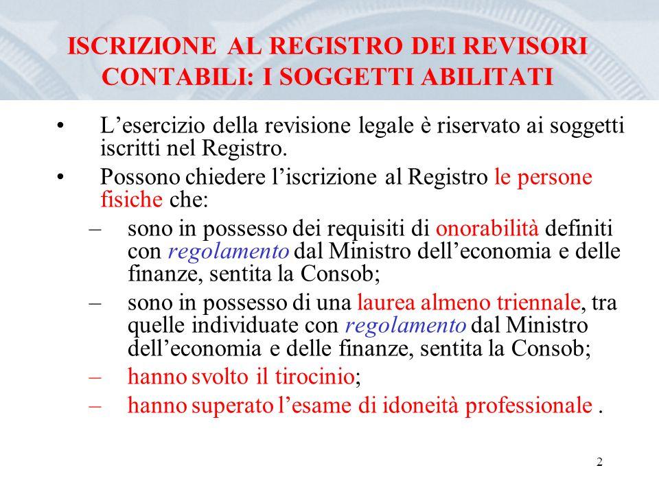 2 ISCRIZIONE AL REGISTRO DEI REVISORI CONTABILI: I SOGGETTI ABILITATI Lesercizio della revisione legale è riservato ai soggetti iscritti nel Registro.