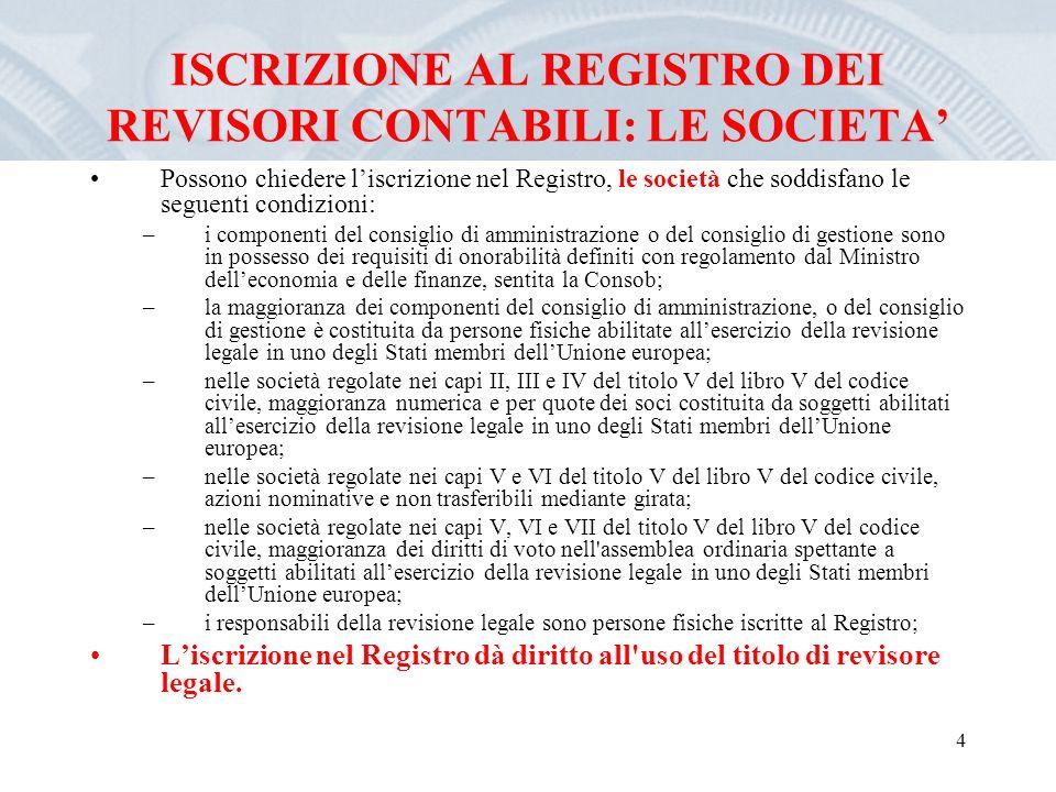 4 ISCRIZIONE AL REGISTRO DEI REVISORI CONTABILI: LE SOCIETA Possono chiedere liscrizione nel Registro, le società che soddisfano le seguenti condizion