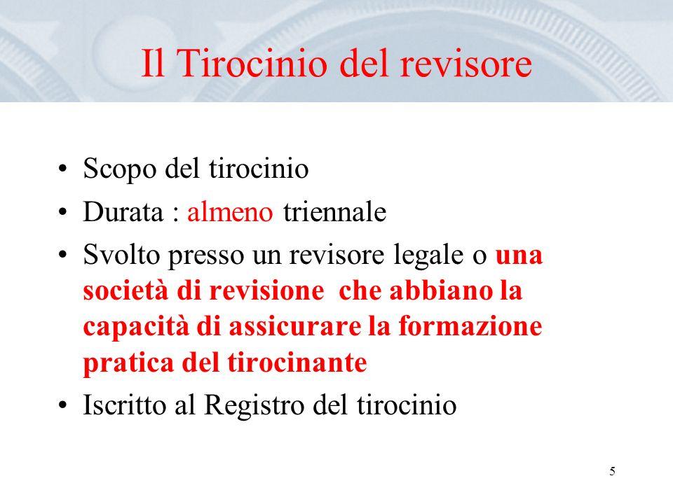 5 Il Tirocinio del revisore Scopo del tirocinio Durata : almeno triennale Svolto presso un revisore legale o una società di revisione che abbiano la c