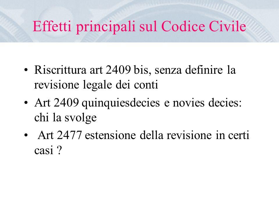 Effetti principali sul Codice Civile Riscrittura art 2409 bis, senza definire la revisione legale dei conti Art 2409 quinquiesdecies e novies decies: chi la svolge Art 2477 estensione della revisione in certi casi