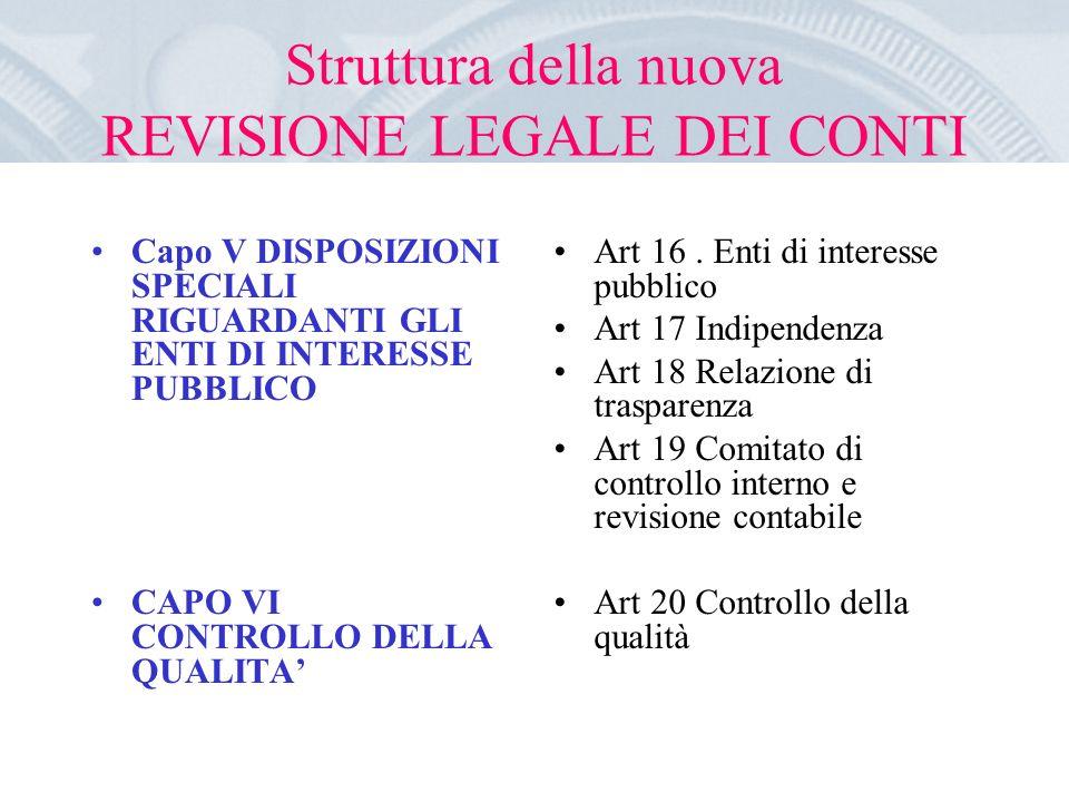 Struttura della nuova REVISIONE LEGALE DEI CONTI Capo V DISPOSIZIONI SPECIALI RIGUARDANTI GLI ENTI DI INTERESSE PUBBLICO CAPO VI CONTROLLO DELLA QUALITA Art 16.