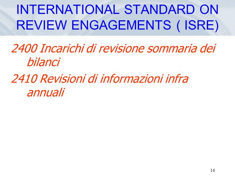 Fare clic per modificare lo stile del titolo dello schema 16 2400 Incarichi di revisione sommaria dei bilanci 2410 Revisioni di informazioni infra ann