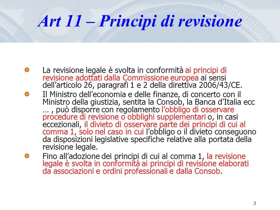 Fare clic per modificare lo stile del titolo dello schema 3 Art 11 – Principi di revisione La revisione legale è svolta in conformità ai principi di r