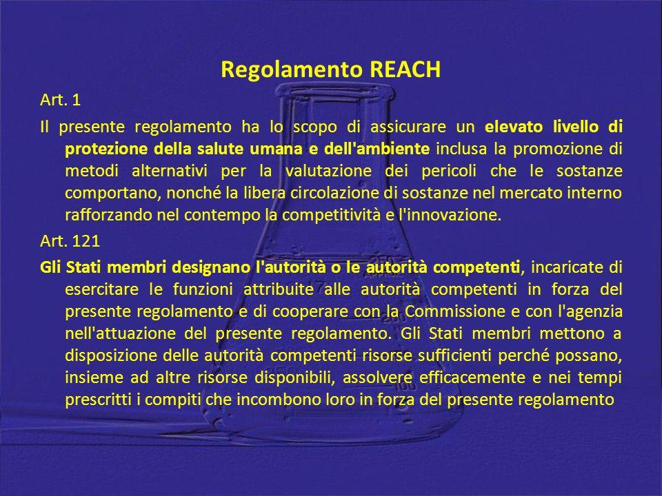 Regolamento REACH Art. 1 Il presente regolamento ha lo scopo di assicurare un elevato livello di protezione della salute umana e dell'ambiente inclusa