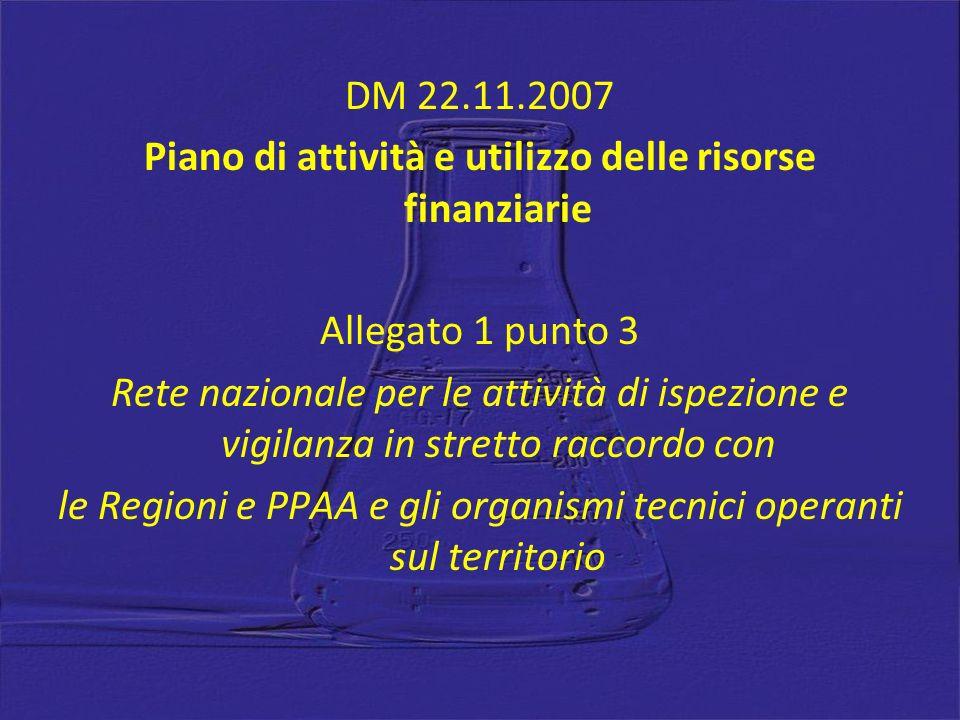 DM 22.11.2007 Piano di attività e utilizzo delle risorse finanziarie Allegato 1 punto 3 Rete nazionale per le attività di ispezione e vigilanza in str