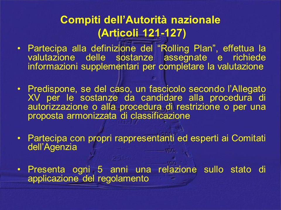 Compiti dellAutorità nazionale (Articoli 121-127) Partecipa alla definizione del Rolling Plan, effettua la valutazione delle sostanze assegnate e rich