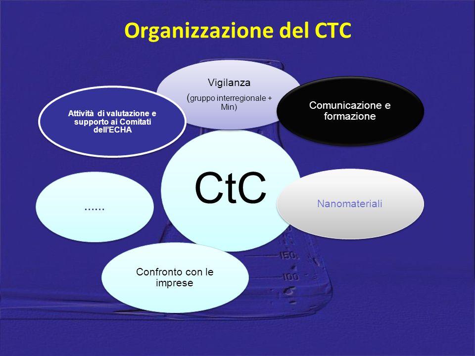 CtC Vigilanza ( gruppo interregionale + Min) Comunicazione e formazione Nanomateriali Confronto con le imprese …… Attività di valutazione e supporto ai Comitati dellECHA Organizzazione del CTC