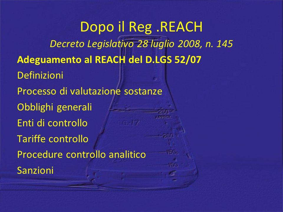 Dopo il Reg.REACH Decreto Legislativo 28 luglio 2008, n. 145 Adeguamento al REACH del D.LGS 52/07 Definizioni Processo di valutazione sostanze Obbligh