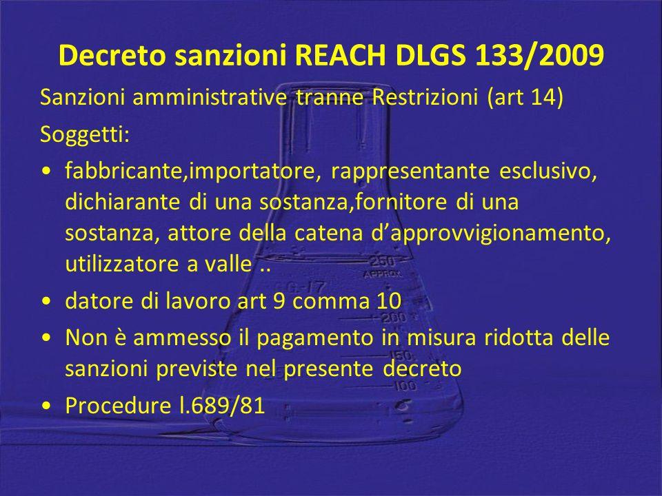 Decreto sanzioni REACH DLGS 133/2009 Sanzioni amministrative tranne Restrizioni (art 14) Soggetti: fabbricante,importatore, rappresentante esclusivo,