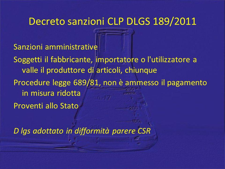 Decreto sanzioni CLP DLGS 189/2011 Sanzioni amministrative Soggetti il fabbricante, importatore o l'utilizzatore a valle il produttore di articoli, ch