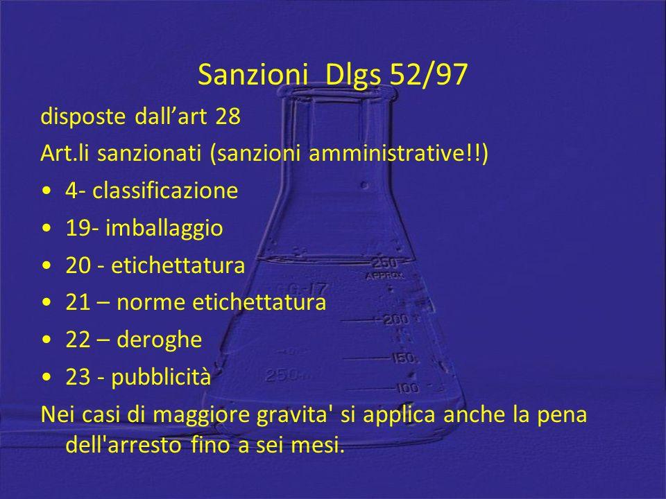 Sanzioni Dlgs 52/97 disposte dallart 28 Art.li sanzionati (sanzioni amministrative!!) 4- classificazione 19- imballaggio 20 - etichettatura 21 – norme