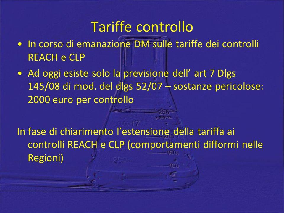 Tariffe controllo In corso di emanazione DM sulle tariffe dei controlli REACH e CLP Ad oggi esiste solo la previsione dell art 7 Dlgs 145/08 di mod.