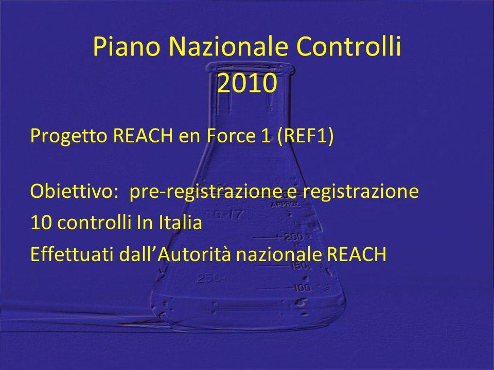 Piano Nazionale Controlli 2010 Progetto REACH en Force 1 (REF1) Obiettivo: pre-registrazione e registrazione 10 controlli In Italia Effettuati dallAutorità nazionale REACH