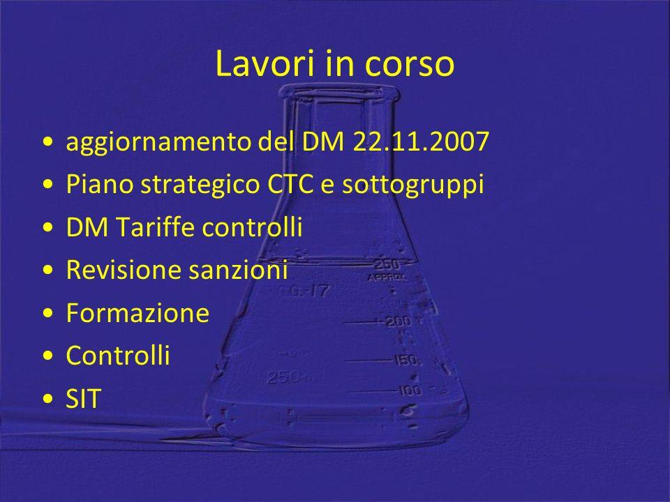 Lavori in corso aggiornamento del DM 22.11.2007 Piano strategico CTC e sottogruppi DM Tariffe controlli Revisione sanzioni Formazione Controlli SIT