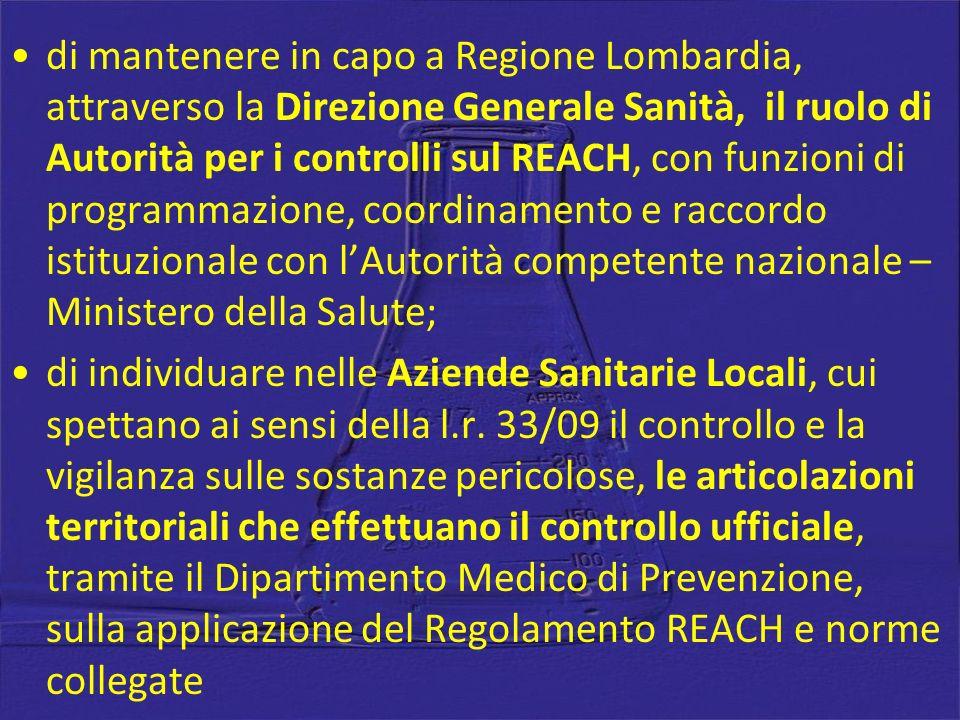 di mantenere in capo a Regione Lombardia, attraverso la Direzione Generale Sanità, il ruolo di Autorità per i controlli sul REACH, con funzioni di pro