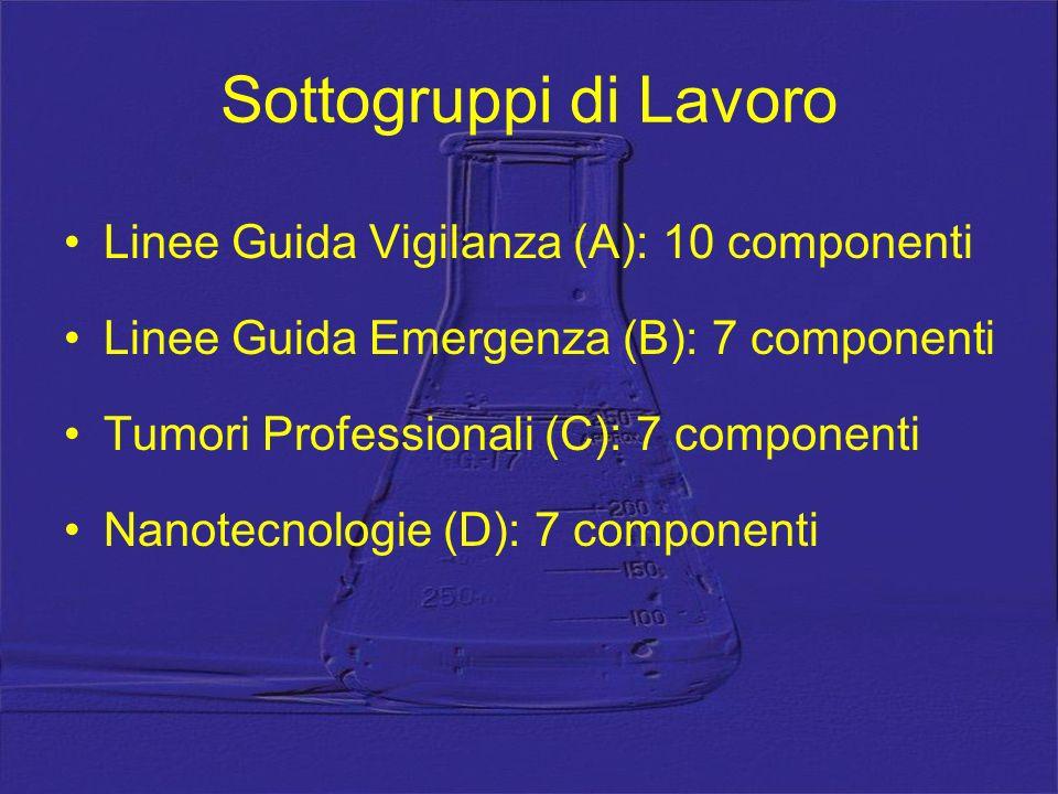 Sottogruppi di Lavoro Linee Guida Vigilanza (A): 10 componenti Linee Guida Emergenza (B): 7 componenti Tumori Professionali (C): 7 componenti Nanotecn