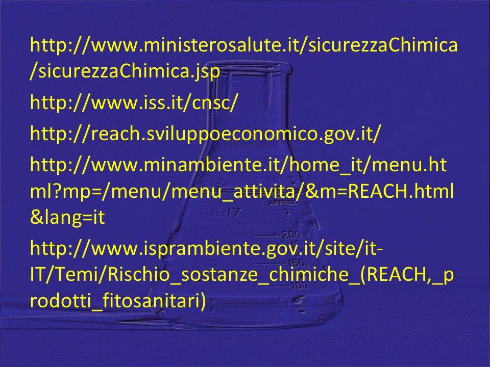 http://www.ministerosalute.it/sicurezzaChimica /sicurezzaChimica.jsp http://www.iss.it/cnsc/ http://reach.sviluppoeconomico.gov.it/ http://www.minambiente.it/home_it/menu.ht ml?mp=/menu/menu_attivita/&m=REACH.html &lang=it http://www.isprambiente.gov.it/site/it- IT/Temi/Rischio_sostanze_chimiche_(REACH,_p rodotti_fitosanitari)