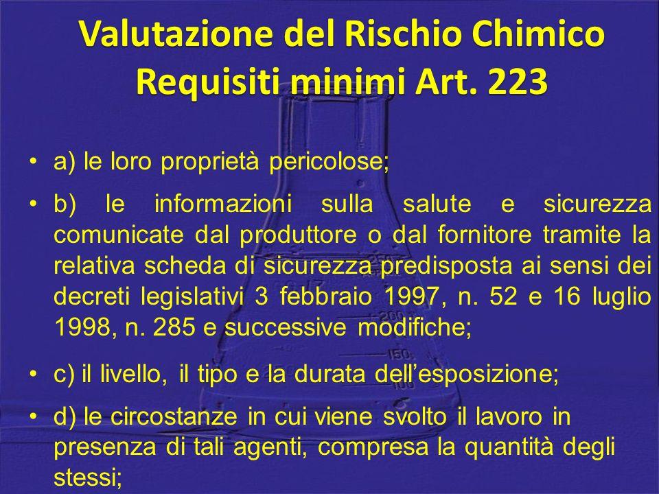 a) le loro proprietà pericolose; b) le informazioni sulla salute e sicurezza comunicate dal produttore o dal fornitore tramite la relativa scheda di sicurezza predisposta ai sensi dei decreti legislativi 3 febbraio 1997, n.