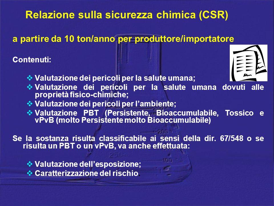 Relazione sulla sicurezza chimica (CSR) a partire da 10 ton/anno per produttore/importatore Contenuti: Valutazione dei pericoli per la salute umana; V